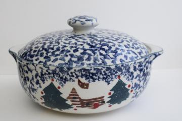vintage Cabin in the Snow Folk Craft stoneware casserole covered bowl, Tienshan China