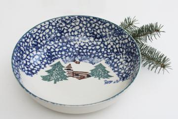 vintage Cabin in the Snow Folk Craft stoneware serving bowl, Tienshan China
