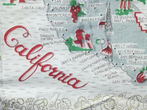 vintage California map cotton print kitchen apron 50s 60s retro