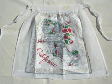 vintage California map cotton print kitchen apron, 50s 60s retro!