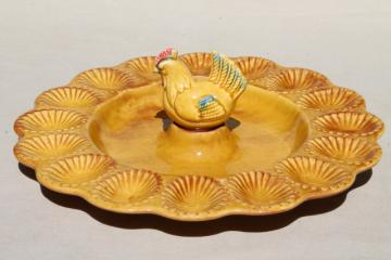 vintage California pottery ceramic tray for deviled eggs, egg plate w/ little brown hen