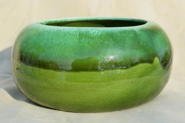vintage California pottery, green drip glaze ceramic large round planter flower bulb pot