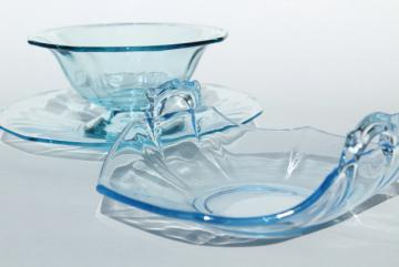 vintage Cambridge decagon mayo dish & basket bowl, light blue colored glass