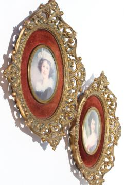 vintage Cameo Creation lady portraits, ornate gold framed bubble glass prints set on velvet