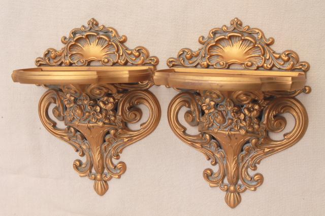 Vintage cameo creations gold rococo plastic wall mount bracket shelves aloadofball Choice Image