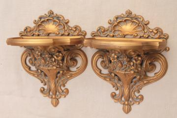 vintage Cameo Creations gold rococo plastic wall mount bracket shelves