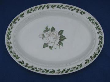 vintage Cameo Rose pattern Hall pottery platter, Hall's Superior China