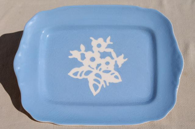 vintage Cameoware Harker china blue & white torte or sandwich tray, cake plate & server