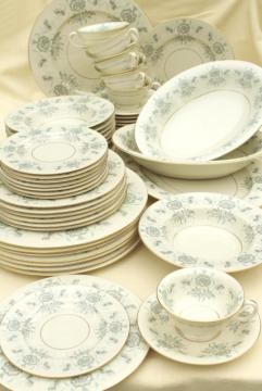 vintage Caprice Castleton china dinnerware for 8, ivory w/ grey, mint green floral