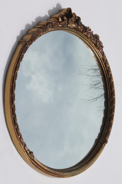 Vintage Carolina Mirror W Round Antique Gold Frame