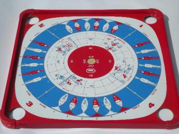 vintage Carrom game board, 70s Munro games litho print gameboard