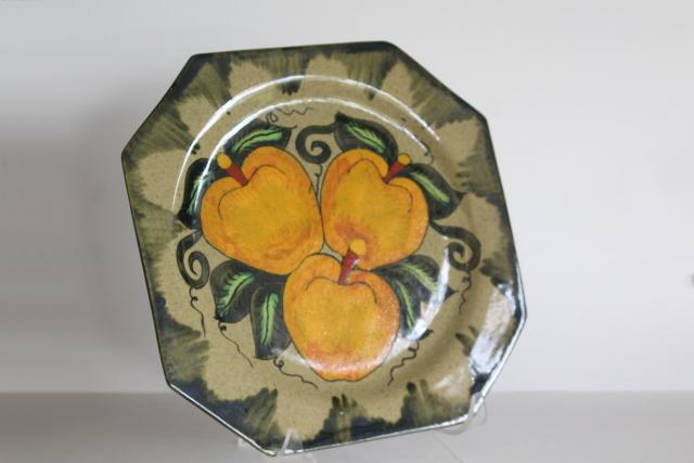 vintage Castillo pottery made in Mexico, hand painted folk art charger plate w/ yellow apples