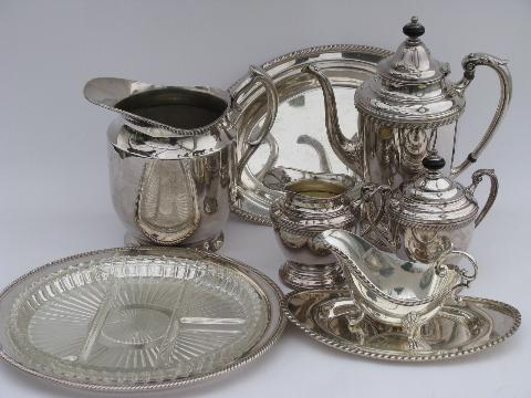 vintage Castleton silver plate serving pieces, pitcher, coffee service set, relish tray
