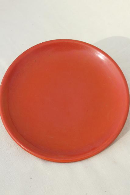 vintage Catalina Island pottery California Toyon red orange plate & bowl