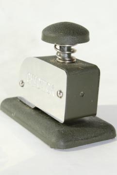 vintage Chadwick stapleless stapler, clip-less paper fastener for office desk filing
