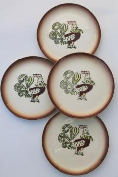 vintage Chanticleer rooster hand-painted plates, Brock of California pottery