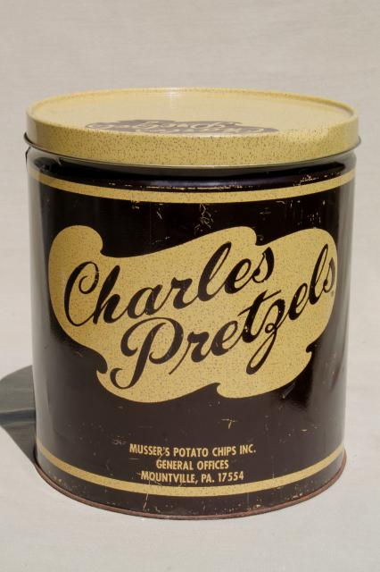 Vintage Charles Chips Pretzels Tin Collectible