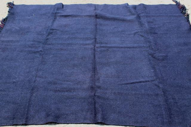 vintage Chase double sided heavy wool camp blanket, fringed plaid lap robe