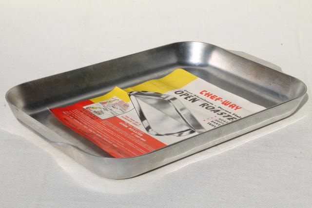 vintage chef way heavy aluminum roasting pan king size turkey roaster w old paper label