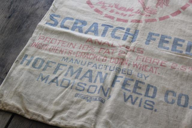 vintage Chicken Scratch cotton feed sack w/ print ad graphics, Hoffman Madison Wisconsin