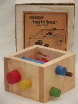 vintage Childcraft logic box, preschool early learning wood puzzle toy