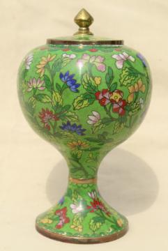 vintage China enameled brass ginger jar, hand painted enamel over metal