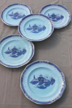 vintage Chinese blue pattern china plates, Adams - England Old Free-Hand