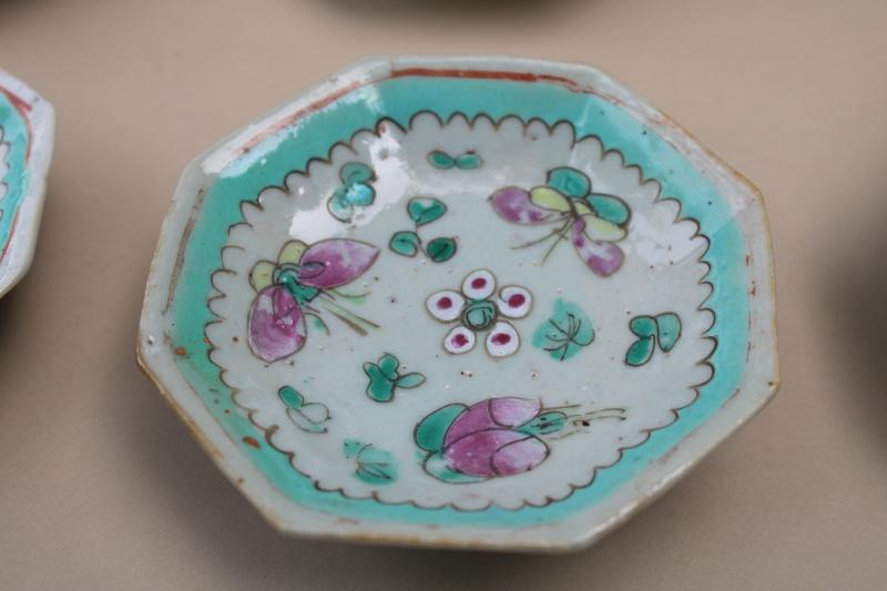 vintage Chinese chop mark pottery hand painted sauce dishes or dipping bowls