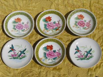 vintage Chinese floral porcelain, china side plates for dim sum etc.