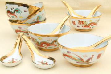 vintage Chinese porcelain rice or noodle bowls w/ hand painted dragons, made in China