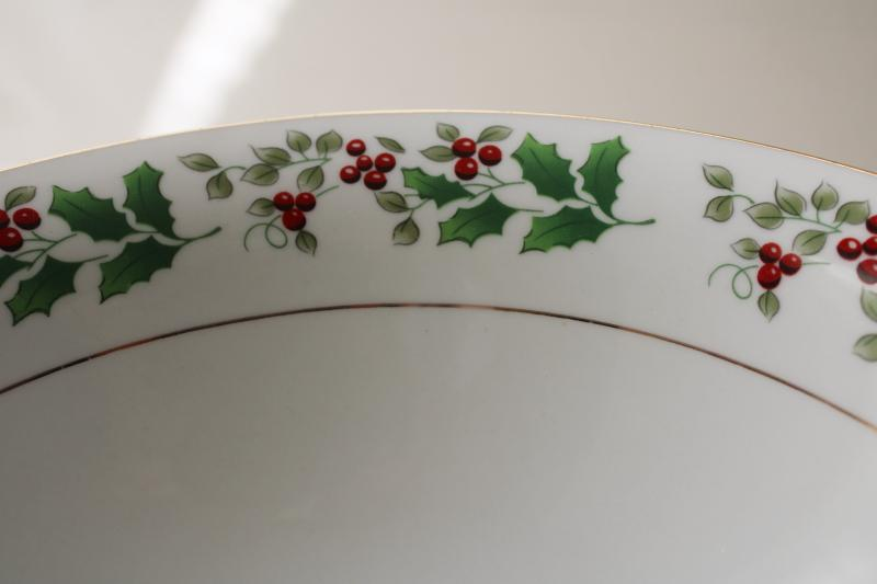 vintage Christmas Charm Gibson holly border china, round serving bowl vegetable dish