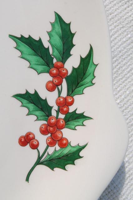 Vintage Christmas Holly Dessert Set Cake Plate Amp Sever