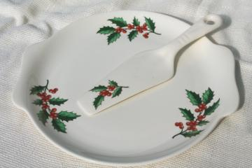 vintage Christmas Holly dessert set, cake plate & sever, Harmony House Salem china