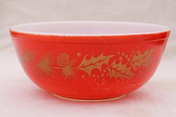 vintage Christmas Pyrex, red & gold holiday holly & pine cone mixing bowl or punch bowl