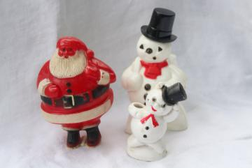 vintage Christmas Santa & snowmen, hard plastic ornaments decorations candy container