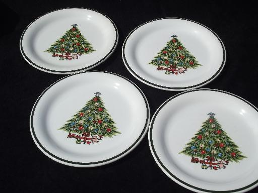vintage christmas tree dinner plates mt clemens pottery holiday dishes