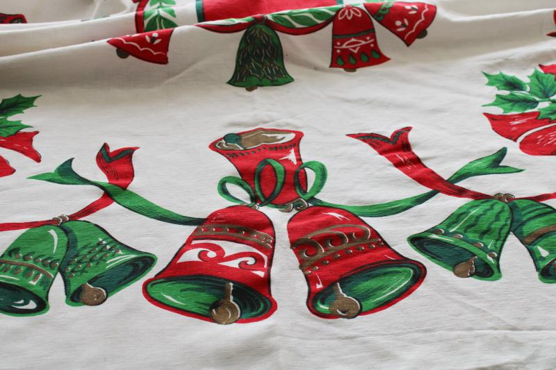 vintage Christmas bells printed cotton tablecloth, retro red & green holiday print