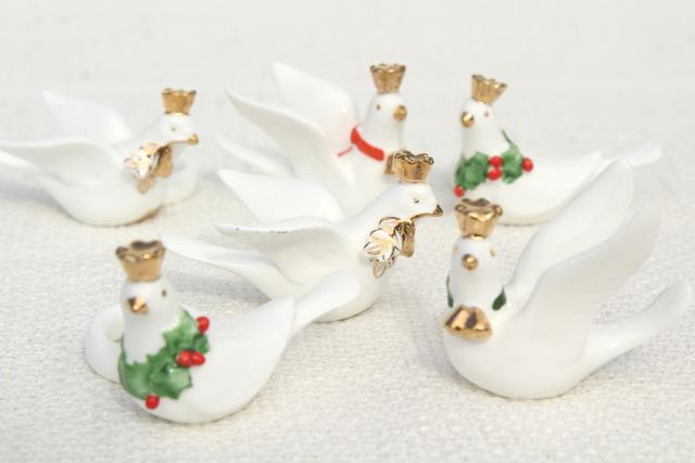 vintage Christmas candle huggers, taper candles rings w/ white doves