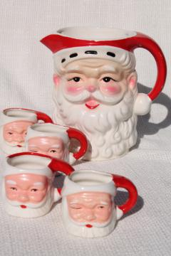 vintage Christmas ceramic Santa face mini mugs & large head vase pitcher Santa Claus