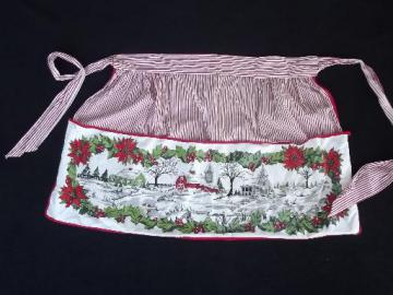 vintage Christmas craft apron, cotton print apron w/ large front pocket
