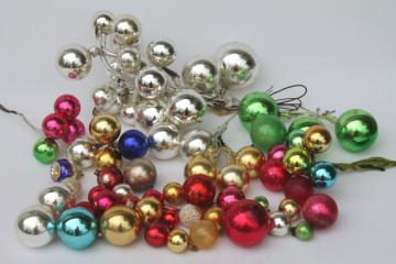vintage Christmas decorations, holiday ornament floral picks, mercury glass balls for wreaths etc.