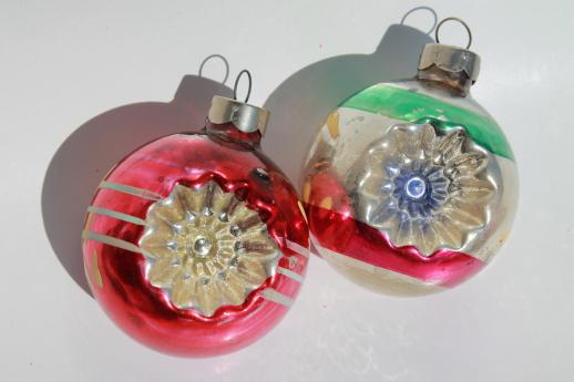vintage Christmas decorations lot - clip on candle holders, window balls & glass bell ornaments