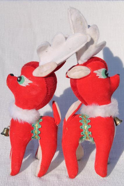 Vintage Christmas Decorations Lot Plastic Deer Red