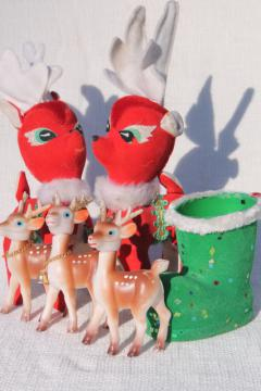 vintage Christmas decorations, lot plastic deer, red velvet reindeer, green flocked Santa boot