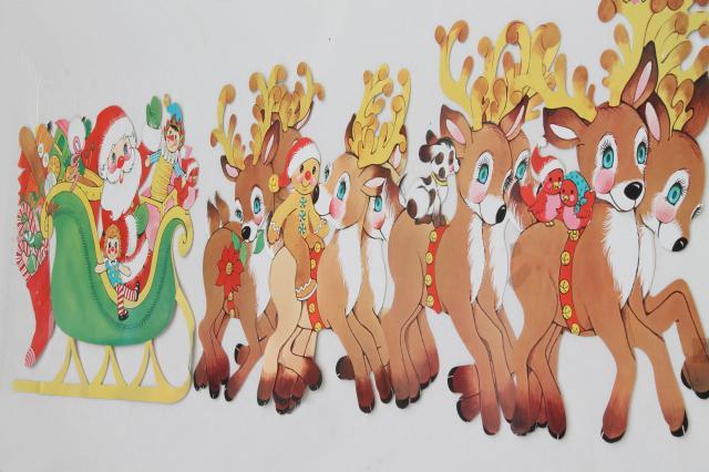 vintage christmas decorations, paper die-cut santa & reindeer for