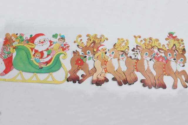 vintage christmas decorations paper die cut santa reindeer for holiday window or wall - Vintage Christmas Wall Decor