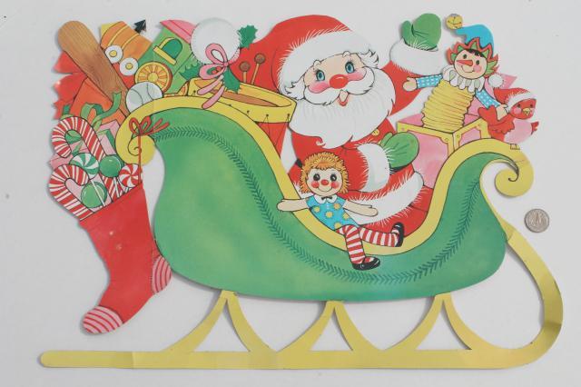 Vintage Christmas Decorations Paper Die Cut Santa Reindeer For