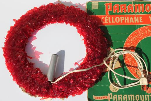 Vintage Christmas Decorations Red Cellophane Amp Chenille