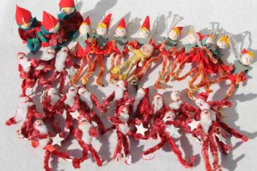 vintage Christmas decorations, tiny chenille pixies elves gift package or tree ornaments