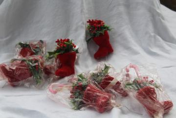 vintage Christmas flocked plastic florist picks, red deer, Santa boot w/ candy canes & snowman